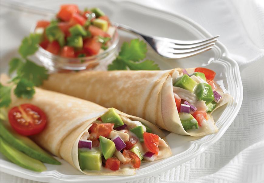 Tortillas crepes de verduras con guacamole platos for Salsa para crepes