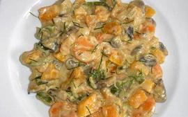 Calabaza al curry con champiñones