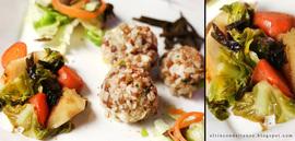 Bolas de arroz integral con lentejas y nituké de chiriví  a, zanahoria, hojas de col y espagueti de mar