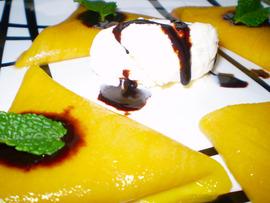 Raviolis de mango y crema de cacao