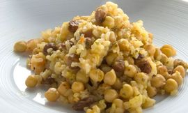 Garbanzos setas arroz
